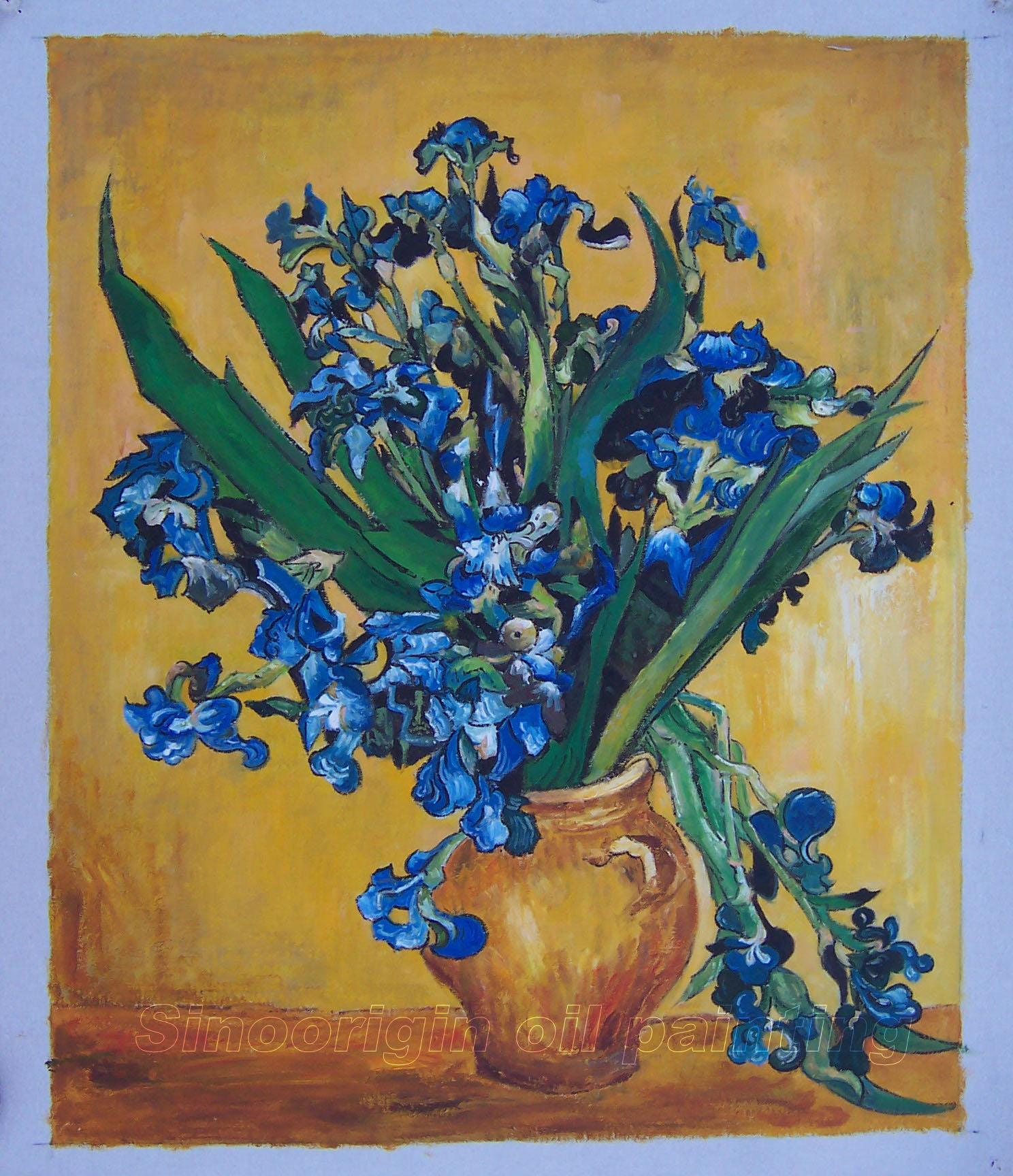 Vincent van gogh oil painting still life vase with irises against a yellow background reviewsmspy