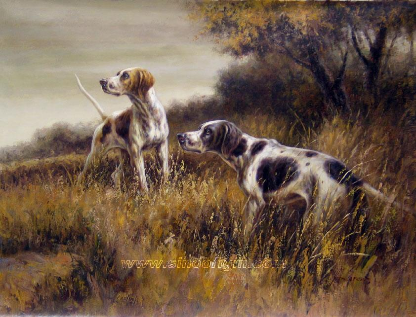 hunting scene oil painting,hunting dog oil painting,oil paintings