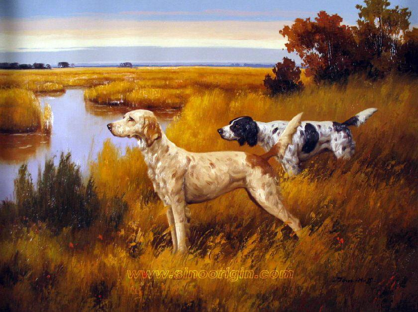 Scene oil painting on canvas handpainted hunting scene oil painting